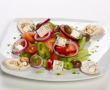 Greek salad with chicken roll