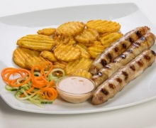 Chicken grilled sausages with spicy fries